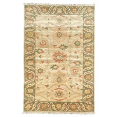 Late 20th Century Green Gold Ivory Beige Floral Persian Style Small Area Rug