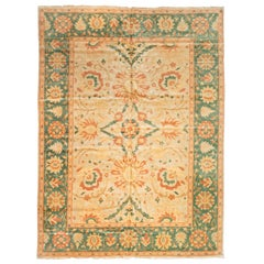 Late 20th Century Green Gold Ivory Floral Egyptian Rug Persian Design