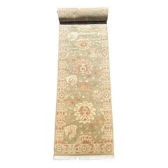 New Green Ivory Floral Persian Style Narrow Runner Rug 2.7 x 9.10 ft