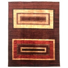 Late 20th Century Hand Knotted Afghan Rug with Wool and Cotton in Red and Brown