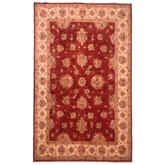 Late 20th Century Hand Knotted Rug in Beige, Golden Yellow, Navy Blue and Red
