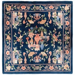 Late 20th Century Handmade Chinese Square Accent Rug in Dark Blue
