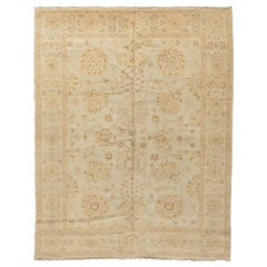 Late 20th Century Handmade Floral Ivory Egyptian Rug Persian Sultanabad Design