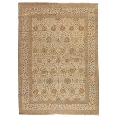 Late 20th Century Handmade Ivory Light Brown Egyptian Rug Persian Tabriz Design