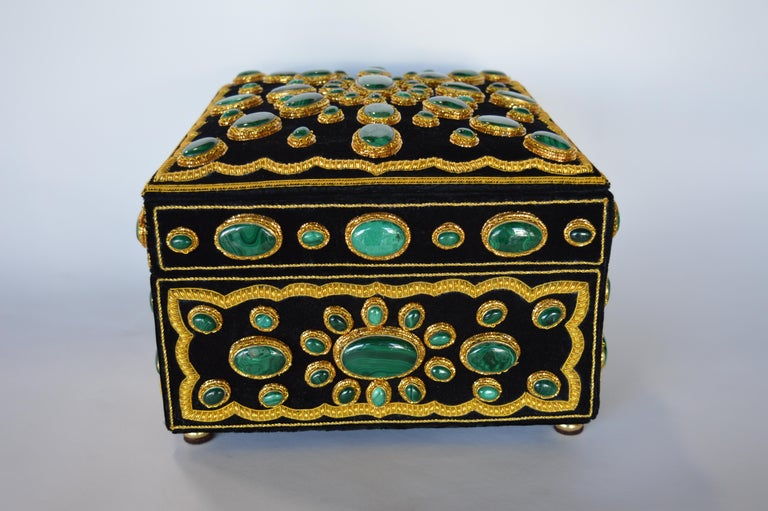 Malachite Late 20th Century Handmade Jewelry Box For Sale