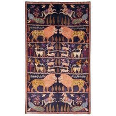 Late 20th Century Handmade Persian Mashad Pictorial Accent Rug
