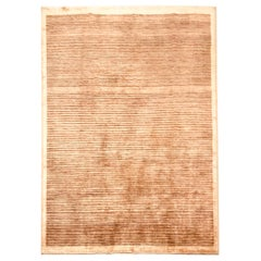Late 20th Century Handmade Wool Rug in Beige Color
