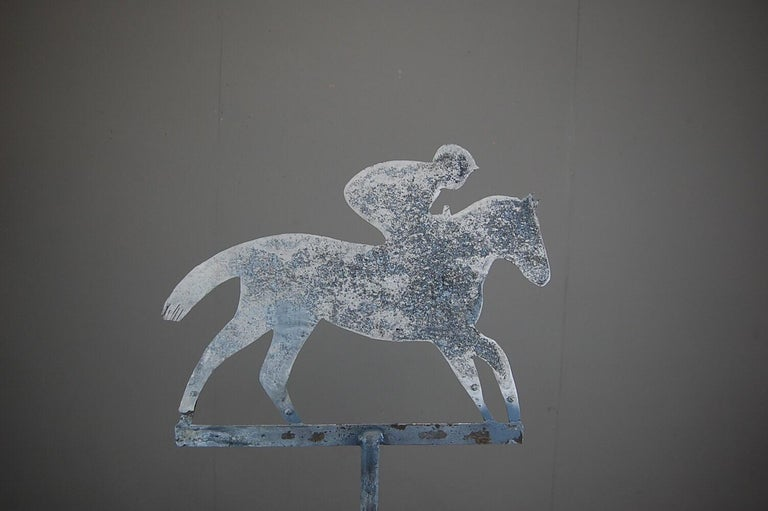 Aluminum Late 20th Century Horse and Jockey Weathervane For Sale