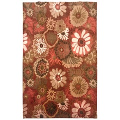 Late 20th Century Indian Hand Knotted Rug Silk and Wool with White Olive Coral