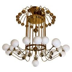 Late 20th Century Italian Bistrot Brass Chandelier w/ White Opaline Glass Globes