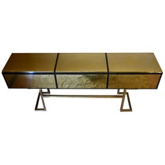 Late 20th Century Italian Black Lacquered Wood & Brass Console w/ Three Drawers