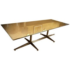 Late 20th Century Italian Brass and Transparent Glass Rectangular Dining Table