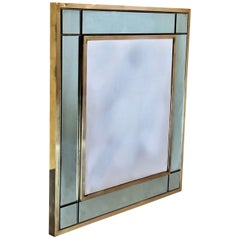 Late 20th Century Italian Brass Wall Mirror with Green Mirror Frame