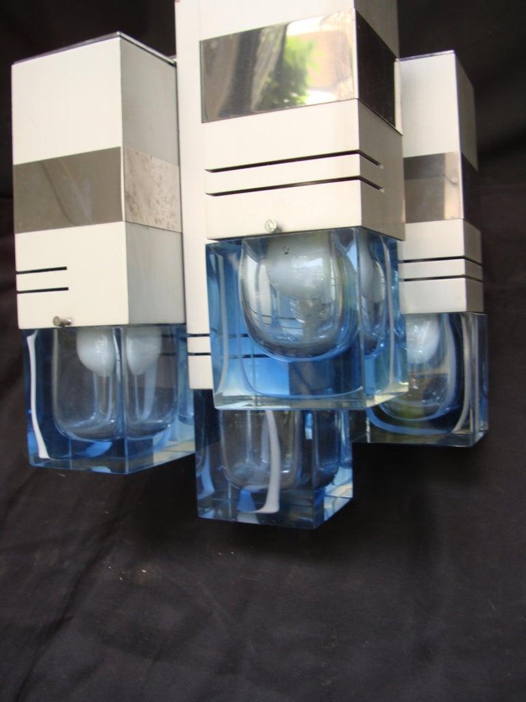 Late 20th Century Italian Metal Chandelier Bicolor Glass by Gaetano Sciolari For Sale 5