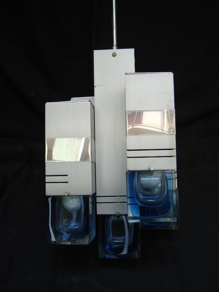 Late 20th Century Italian Metal Chandelier Bicolor Glass by Gaetano Sciolari In Good Condition For Sale In Milano, IT