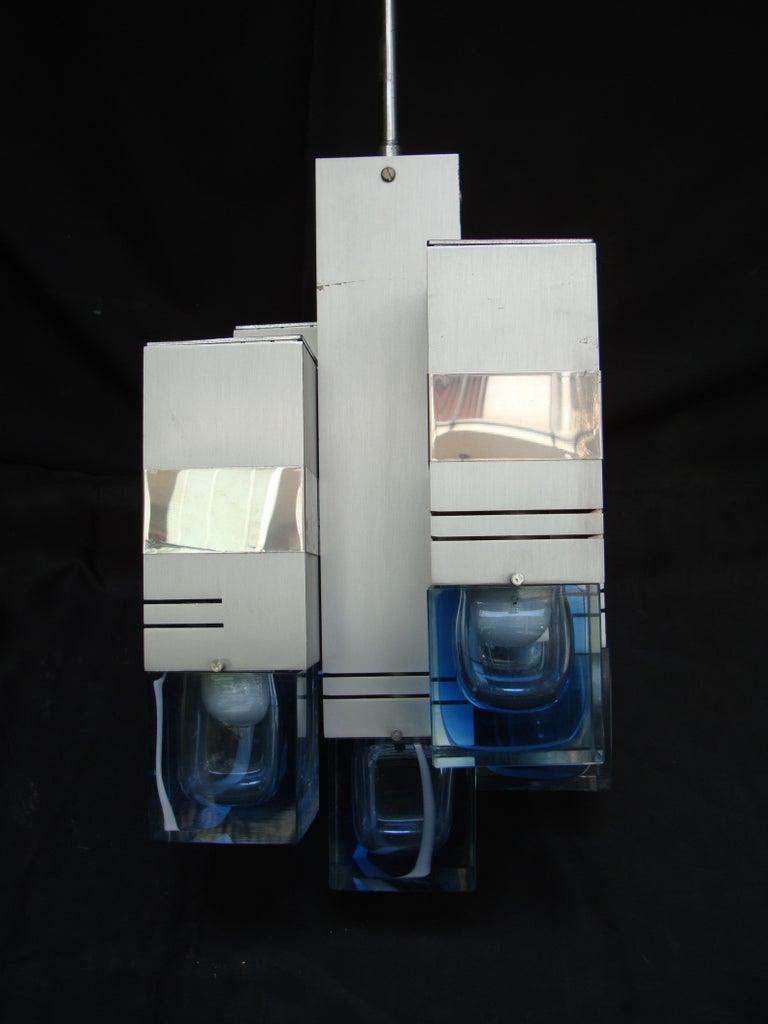Late 20th Century Italian Metal Chandelier Bicolor Glass by Gaetano Sciolari For Sale 1