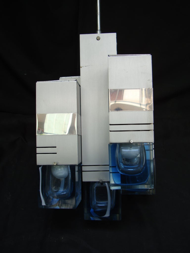 Late 20th Century Italian Metal Chandelier Bicolor Glass by Gaetano Sciolari For Sale 2