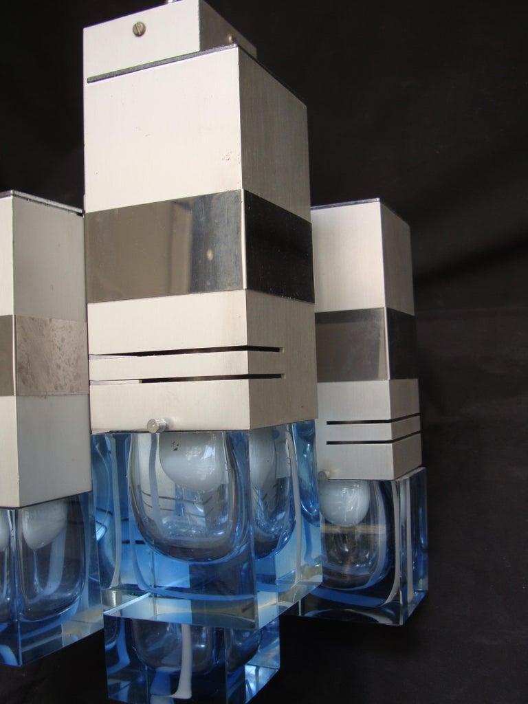 Late 20th Century Italian Metal Chandelier Bicolor Glass by Gaetano Sciolari For Sale 4