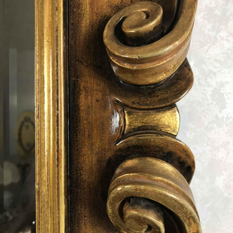 Beveled Late 20th Century Italian Molded Wooden and Gilt Mirror by Chelini Firenze For Sale