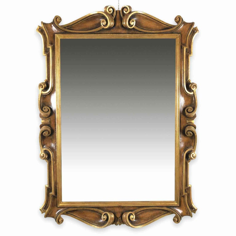 Late 20th Century Italian Molded Wooden and Gilt Mirror by Chelini Firenze For Sale 2