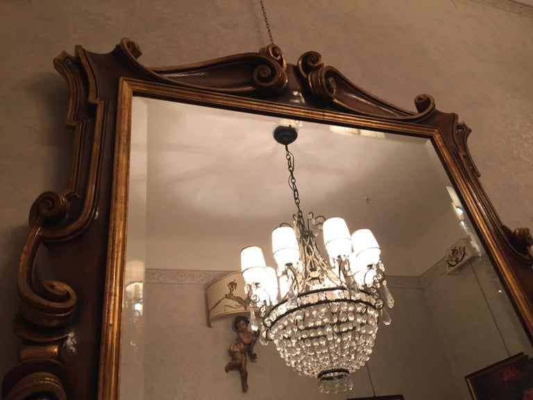 Late 20th Century Italian Molded Wooden and Gilt Mirror by Chelini Firenze For Sale 3