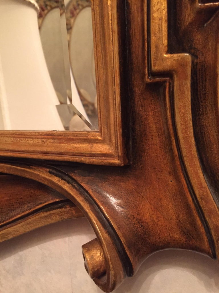 Late 20th Century Italian Molded Wooden and Gilt Mirror by Chelini Firenze For Sale 4