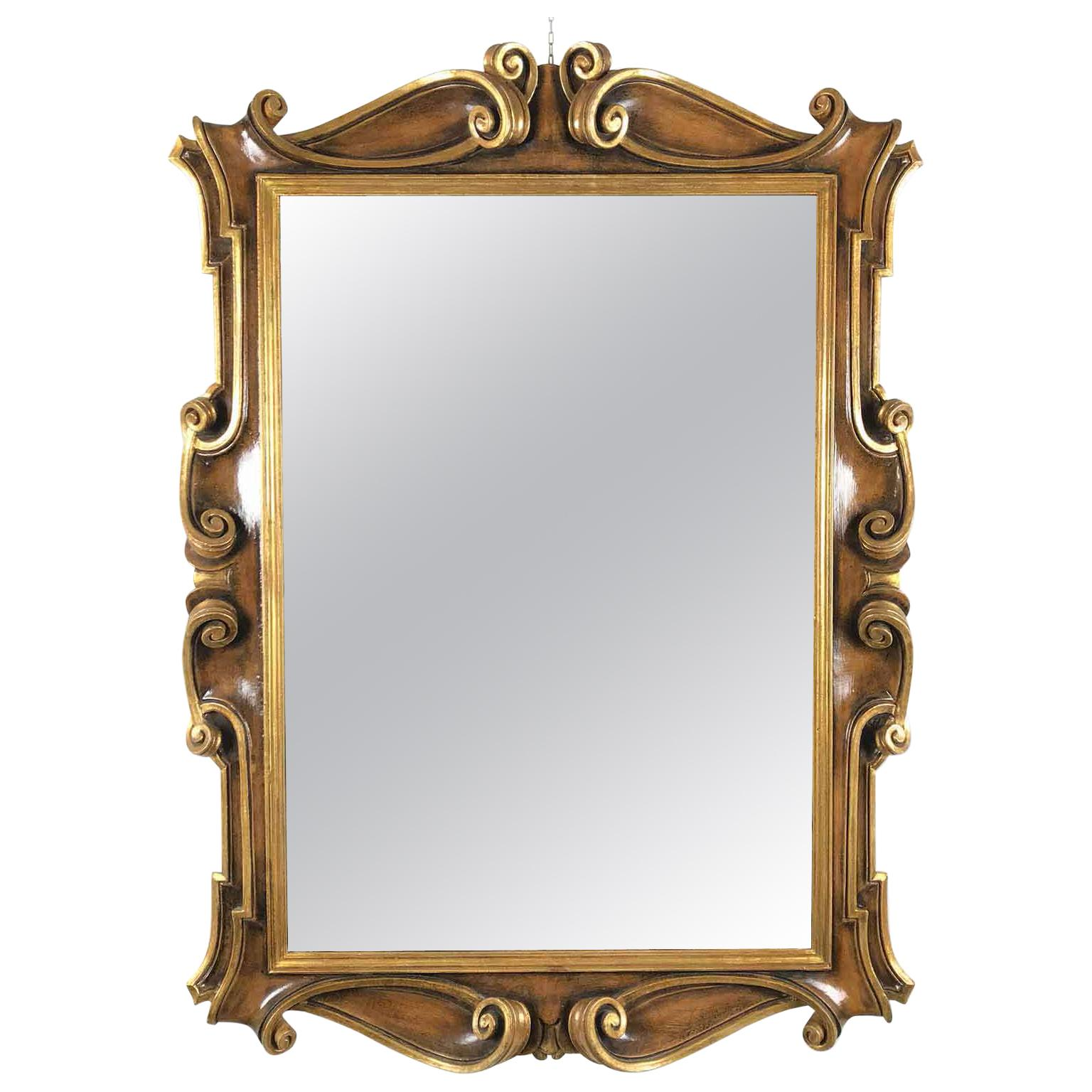 Late 20th Century Italian Molded Wooden and Gilt Mirror by Chelini Firenze