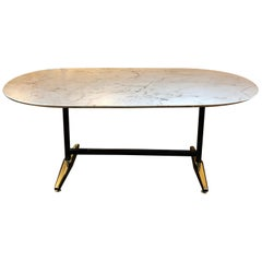 Late 20th Century Italian Oval Dining Table w/ White Alabaster Top & Iron Legs