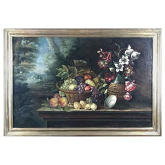 20th Century Italian Still Life of Flowers Fruits and Landscape