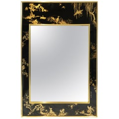 "Late 20th Century ""La Barge"" Reverse Hand Painted Chinoiserie Mirror"