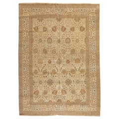 Late 20th Century Large Ivory Brown Egyptian Rug Persian Tabriz Design