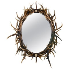 Large Oval Antler Horn Mirror