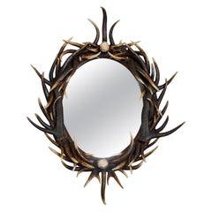 Late 20th Century Large Oval Dark Antler Horn Mirror