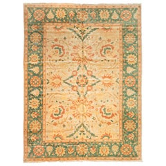 Late 20th Century Large Oversize Green Gold Ivory Persian Design Area Rug