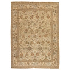 Late 20th Century Large Oversize Ivory Brown Egyptian Rug Persian Tabriz Design