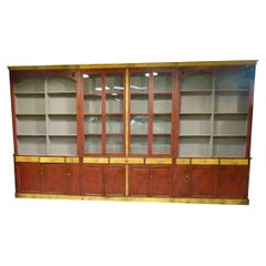 Late 20th Century Large Storage Cabinet in Brown, Yellow and Grey Painted Wood