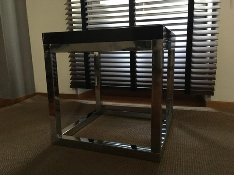 Modern Late 20th Century London Pair Andrew Martin Metal Side Tables For Sale