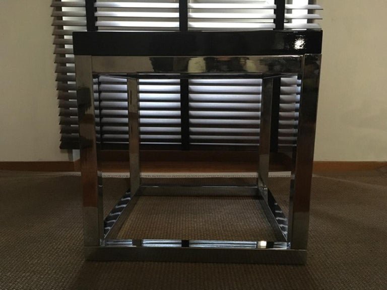 British Late 20th Century London Pair Andrew Martin Metal Side Tables For Sale