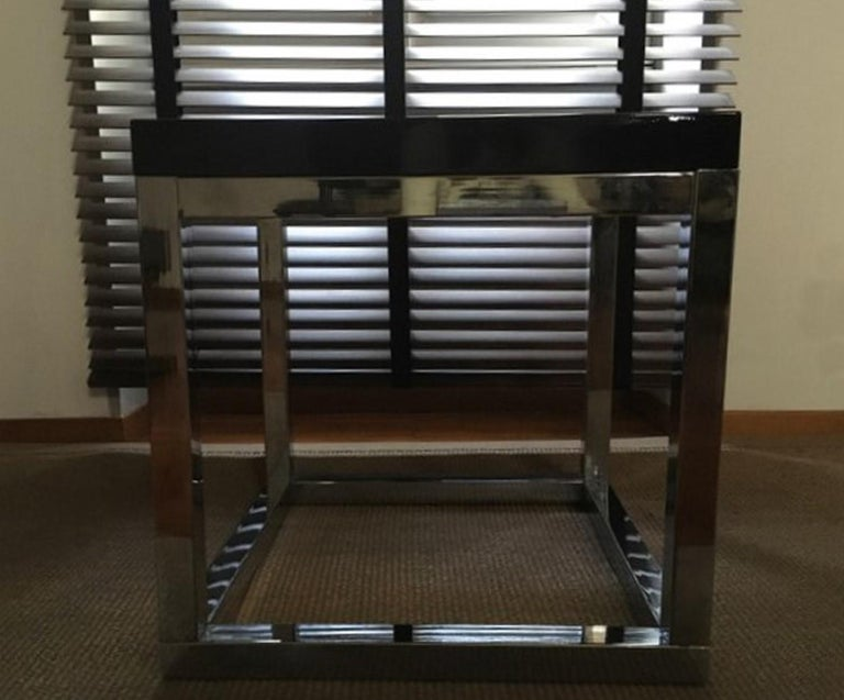 Late 20th Century London Pair Andrew Martin Metal Side Tables In Good Condition For Sale In Brescia, IT