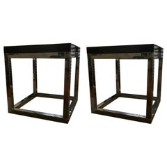 Late 20th Century London Pair Andrew Martin Metal Side Tables