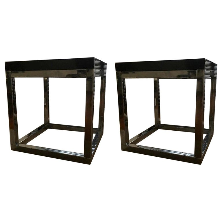 Late 20th Century London Pair Andrew Martin Metal Side Tables For Sale
