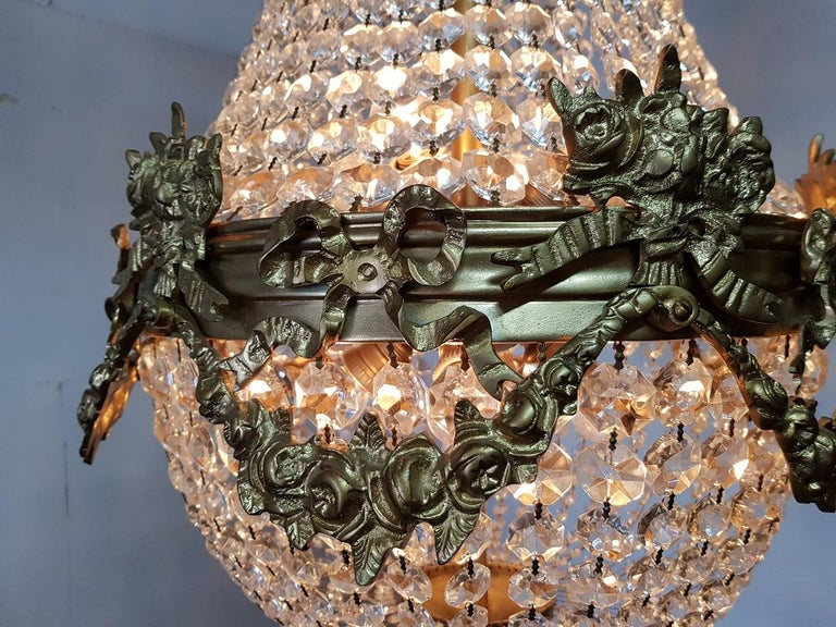 Late 20th Century Louis XVI Style Crystal Chandelier In Excellent Condition For Sale In Raalte, NL