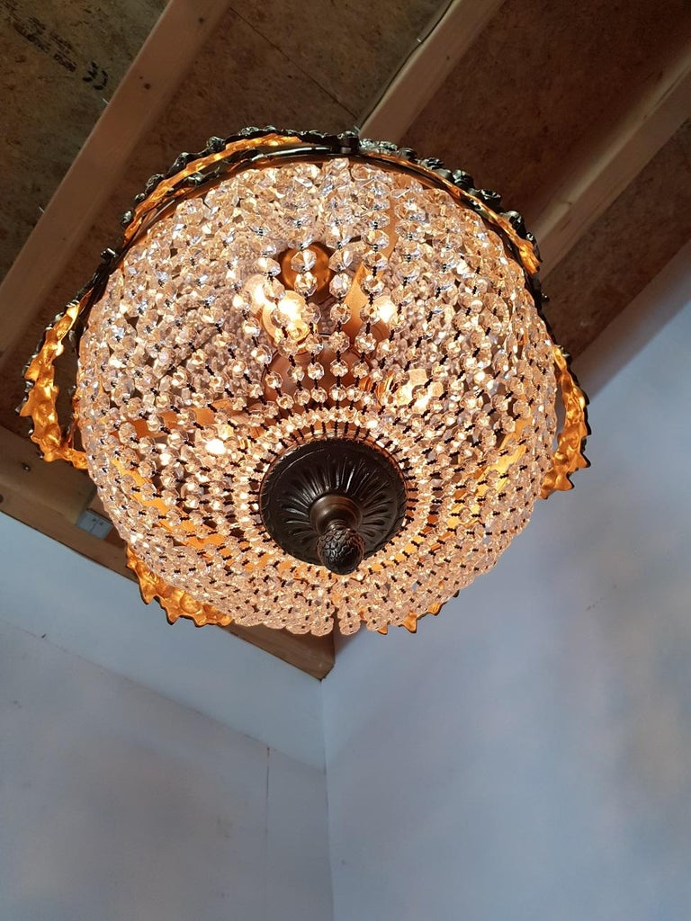 Metal Late 20th Century Louis XVI Style Crystal Chandelier For Sale