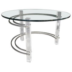 Late 20th Century Lucite, Chrome and Glass Coffee Table by Charles Hollis Jones
