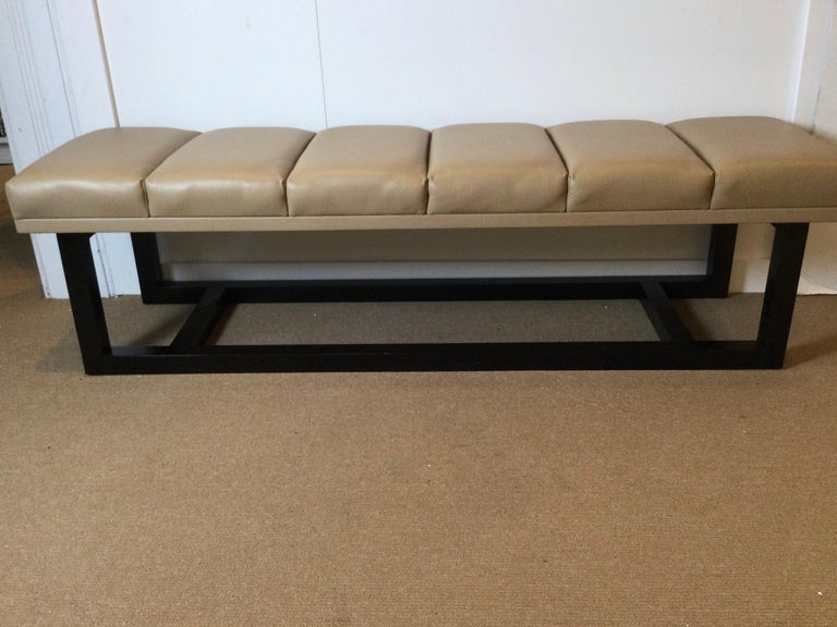 Late 20th century modern style leather upholstered bench Nice clean leather bench with ebonized wood frame, nice clean lines. Measures: 18.50'D X 67