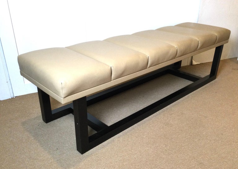 American Late 20th Century Modern Style Leather Upholstered Bench For Sale