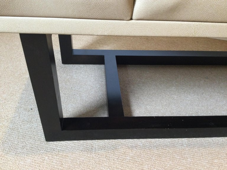 Late 20th Century Modern Style Leather Upholstered Bench For Sale 2