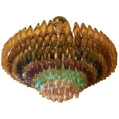 Spätes 20. Jahrhundert Mehrfarbiger Polyhedron Murano Glas Runder Kronleuchter von Venini