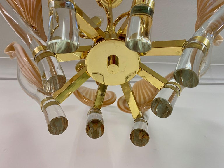 Italian Late 20th Century Murano Glass and Brass Chandelier For Sale