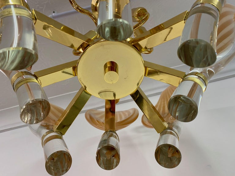 Late 20th Century Murano Glass and Brass Chandelier In Good Condition For Sale In London, London
